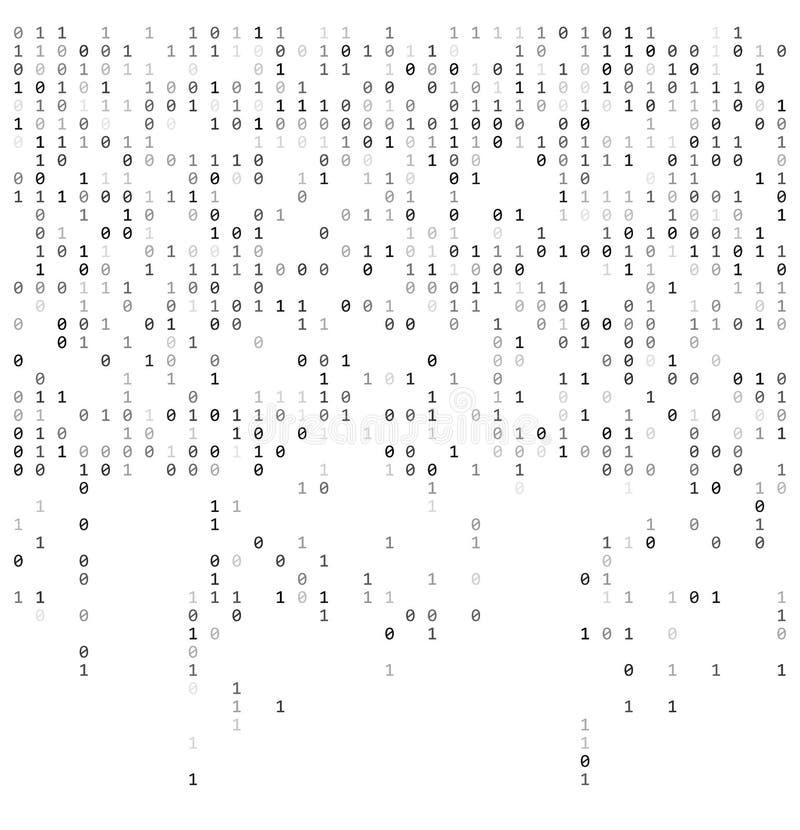 Números de queda binários como a matriz 0,1 dígitos no molde branco do fundo ilustração do vetor