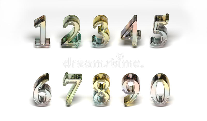Números de vidro coloridos fotografia de stock royalty free