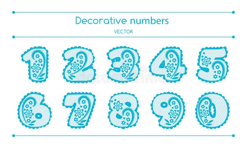 Números decorativos del vector fijados libre illustration