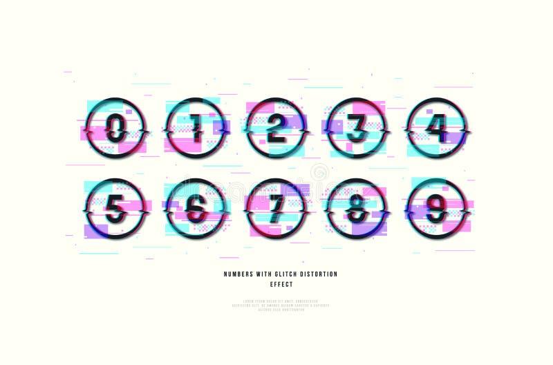 Números decorativos do vetor do estoque em quadros redondos ilustração stock