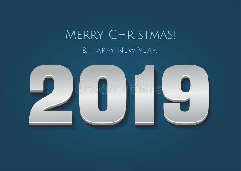 números 2019 del año del oro aislados en fondo azul Feliz Año Nuevo 2019 stock de ilustración