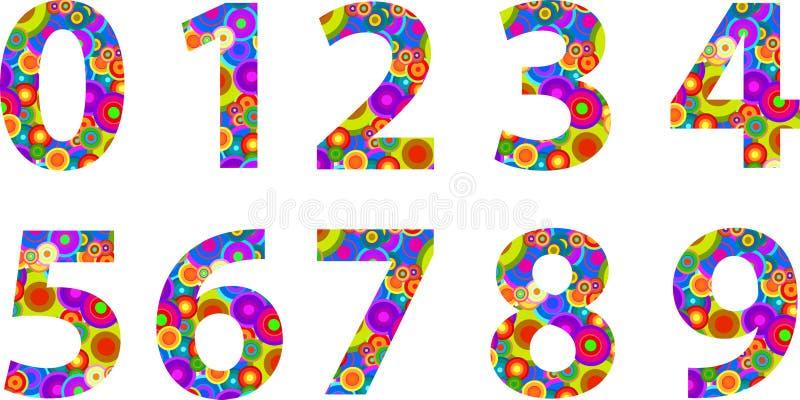Números del alfabeto con los círculos retros del disco ilustración del vector
