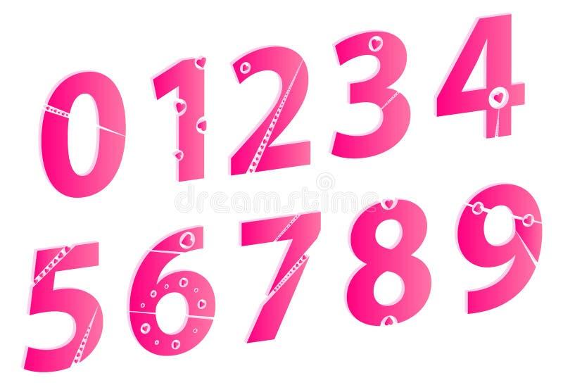 números del alfabeto del amor del día de tarjetas del día de San Valentín 3D fijados libre illustration