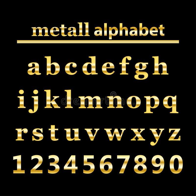 Números del alfabeto y del oro del metall del oro stock de ilustración