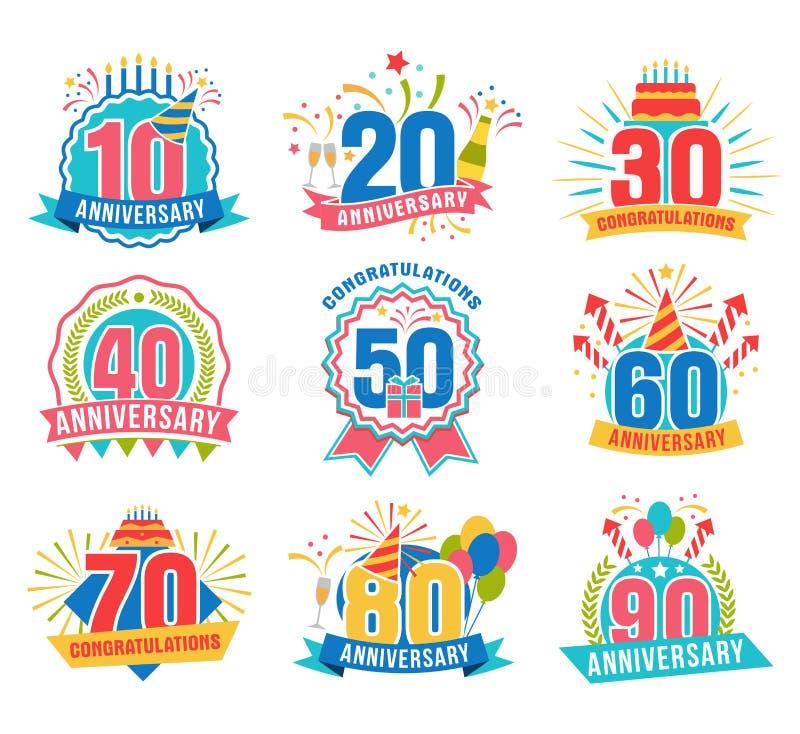 Números del aniversario fijados ilustración del vector