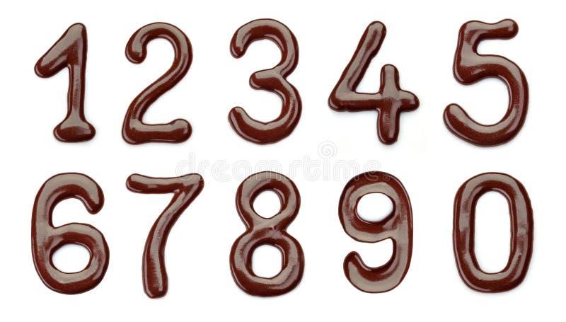 Números del chocolate foto de archivo