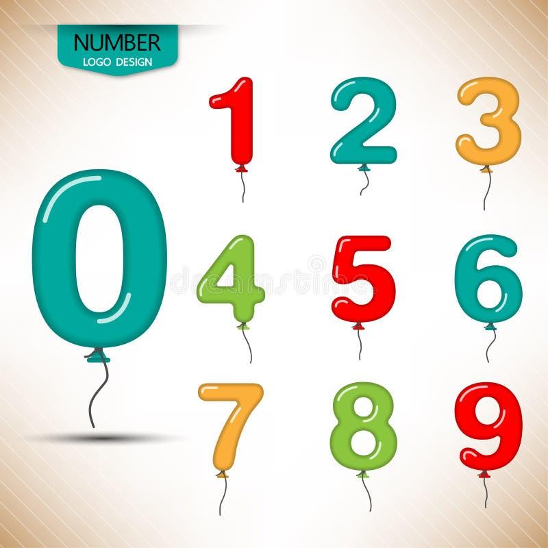 Números del globo y vector de la plantilla de la fuente ilustración del vector