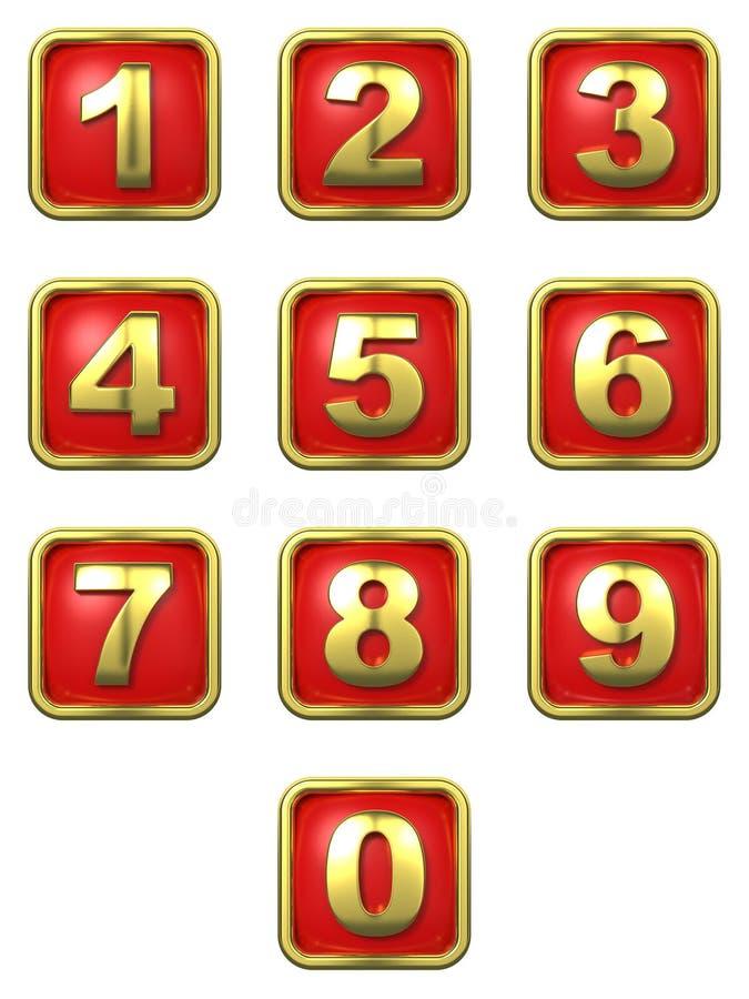 Números del oro en marco ilustración del vector