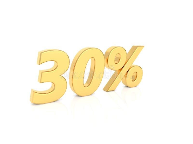 números del oro del 30% en un fondo blanco stock de ilustración