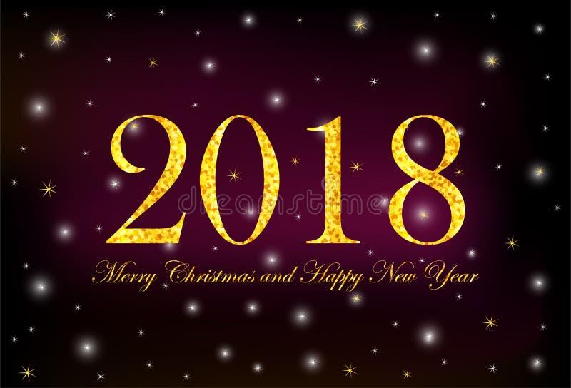 Números 2018 del oro y Feliz Navidad y Feliz Año Nuevo o del texto libre illustration