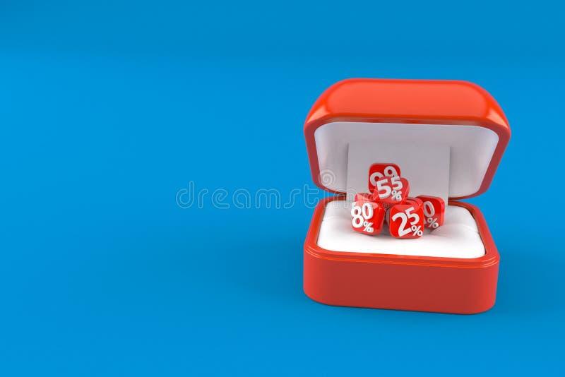 Números del por ciento dentro de la caja del anillo de compromiso ilustración del vector