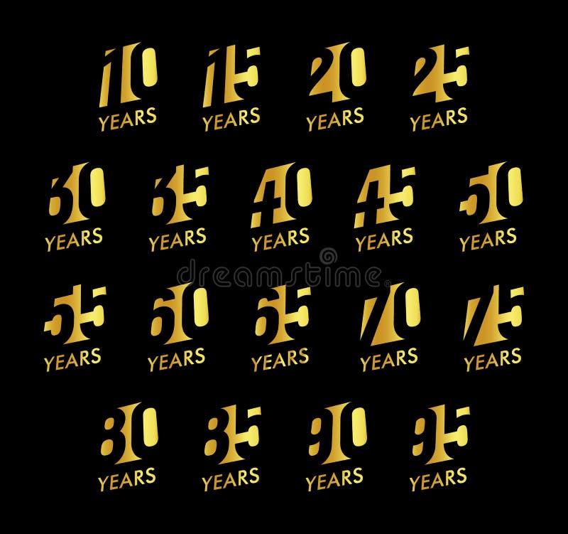 Números del vector del aniversario fijados Colección del logotipo de la celebración del cumpleaños Años de oro de muestras en fon libre illustration