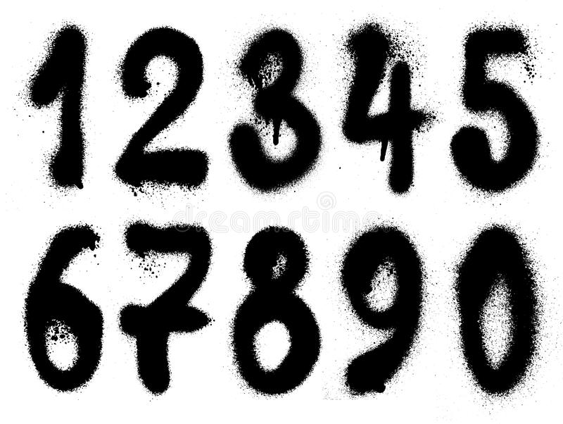 Números desenhados mão do grunge dos grafittis ilustração do vetor