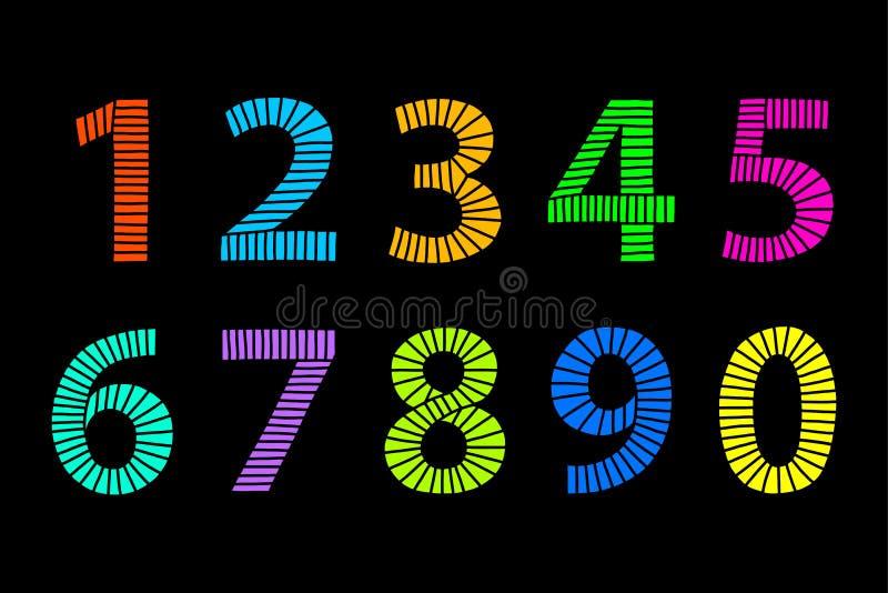Números dibujados mano coloreados multi hechos de líneas sobre negro stock de ilustración