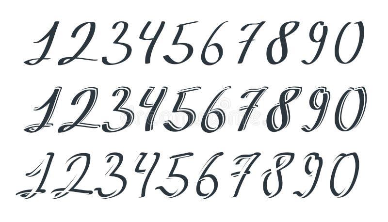 Números dibujados mano del vector stock de ilustración