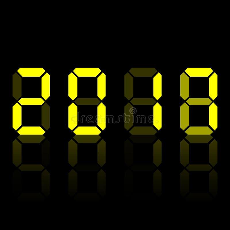 Números digitales electrónicos amarillos 2018 En fondo negro Ilustración del vector ilustración del vector