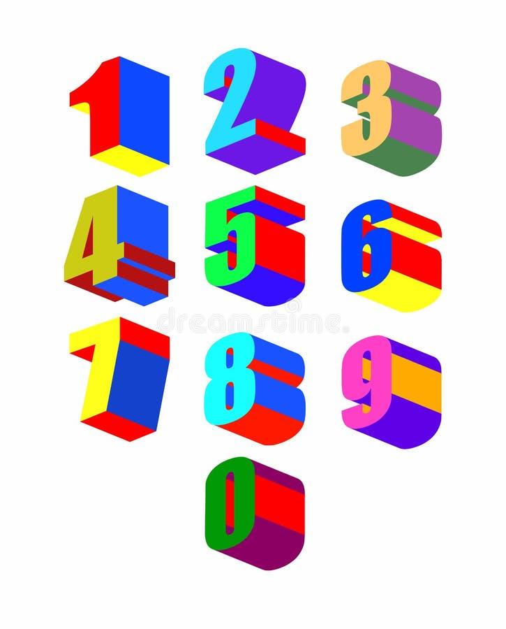 Números 3dl coloridos loucos ajustados Ilustração do vetor ilustração do vetor