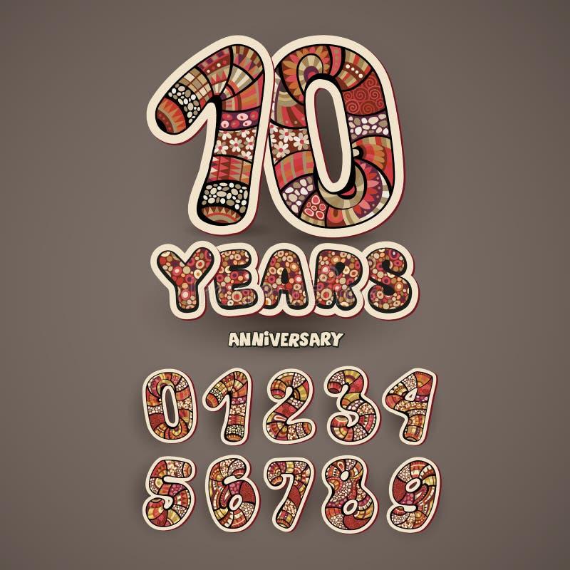 Números do aniversário ajustados ilustração stock