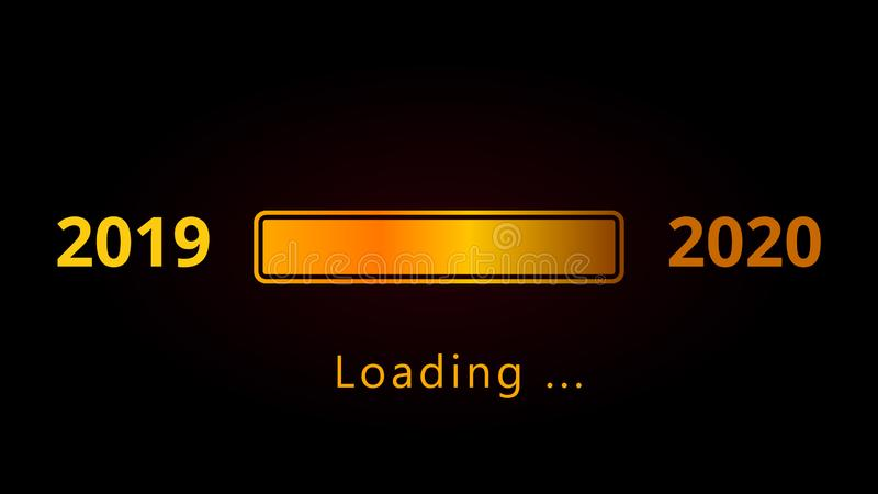 Números do ano novo feliz 2020 com a barra e o texto dourados de carregamento brilhante isolados no fundo preto ilustração stock