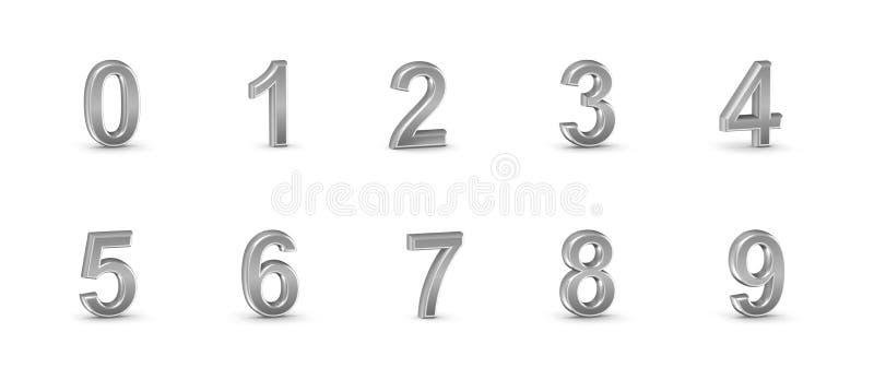 números do cromo 3D ajustados. ilustração do vetor