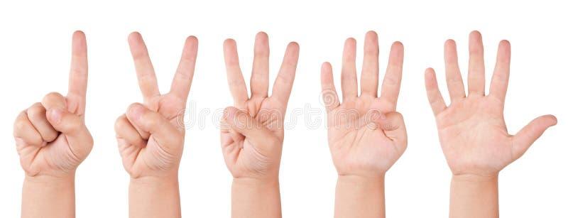 Números do dedo da criança foto de stock