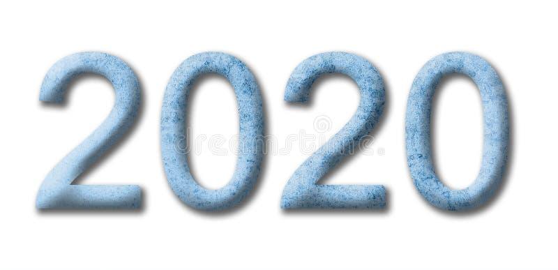 Números 2020 do Natal Ano novo número 2020 do gelo azul para o projeto Isolado em um fundo branco foto de stock