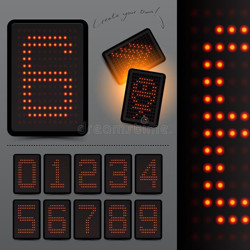 Números do placar do diodo emissor de luz de Digitas ilustração stock
