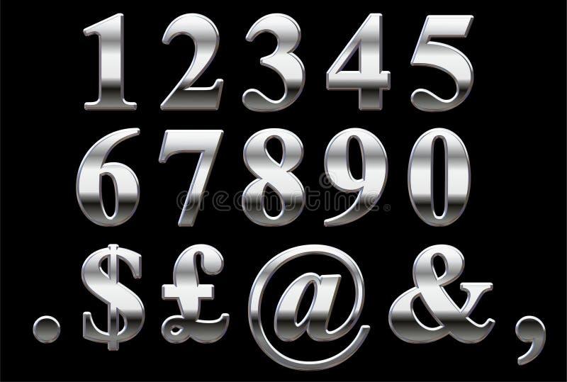 Números do Serif do cromo ilustração royalty free