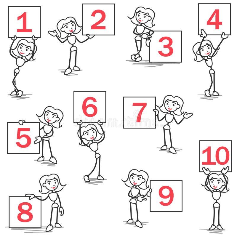 Números do sinal da menina do anel de Stickman ilustração royalty free