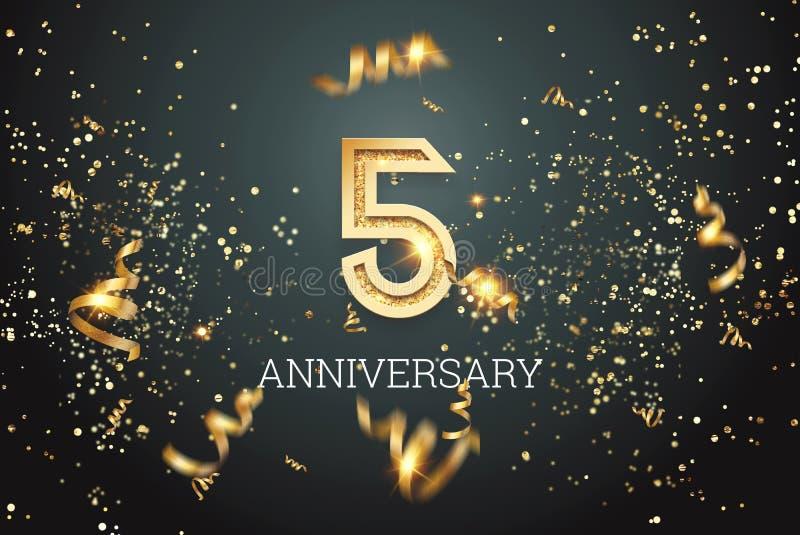 Números dorados, celebración de 5 años sobre fondo oscuro y confetti. plantilla de celebración, volante. ilustración 3D, 3D stock de ilustración
