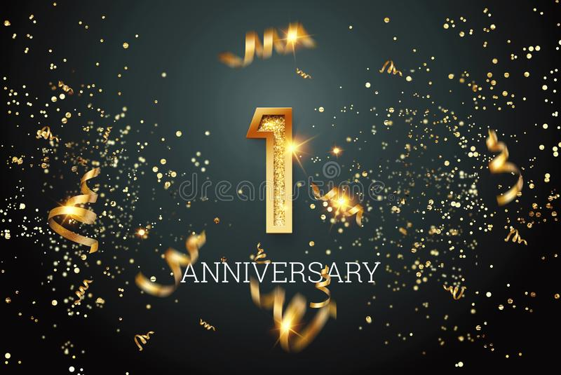 Números dorados, celebración de un aniversario sobre fondo oscuro y confetti. plantilla de celebración, volante. ilustración 3 stock de ilustración