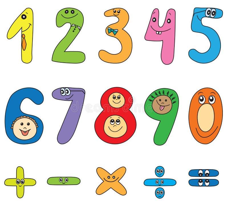 Números dos desenhos animados ilustração stock