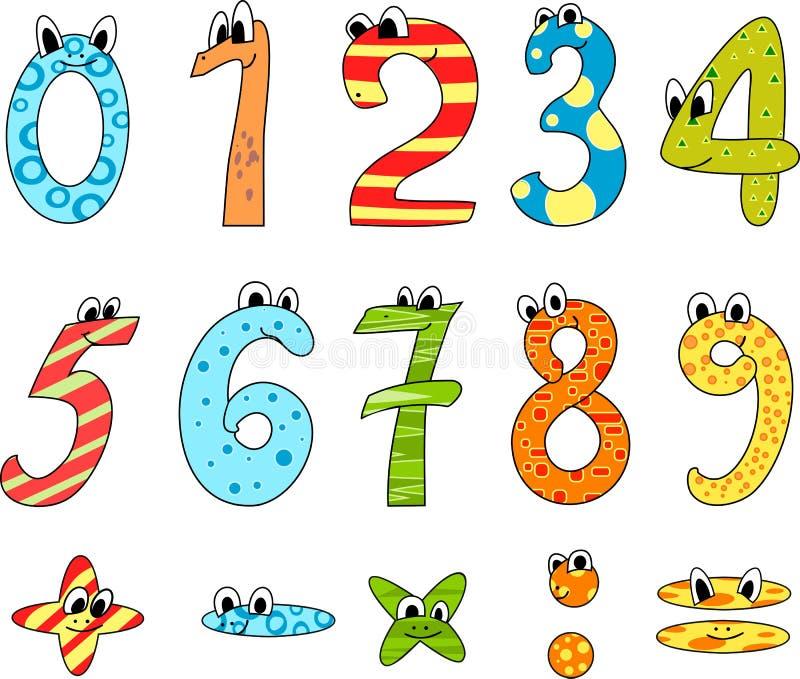 números dos desenhos animados ilustração do vetor