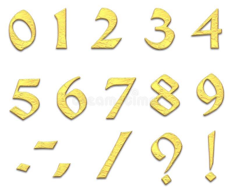 Números dourados ilustração do vetor