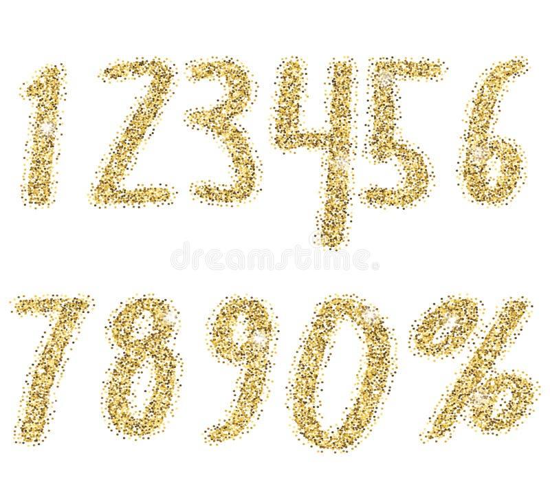 Números dourados brilhantes do brilho Fonte salpicando do brilho Números luxuosos dourados decorativos Bom para para a venda, fer ilustração do vetor