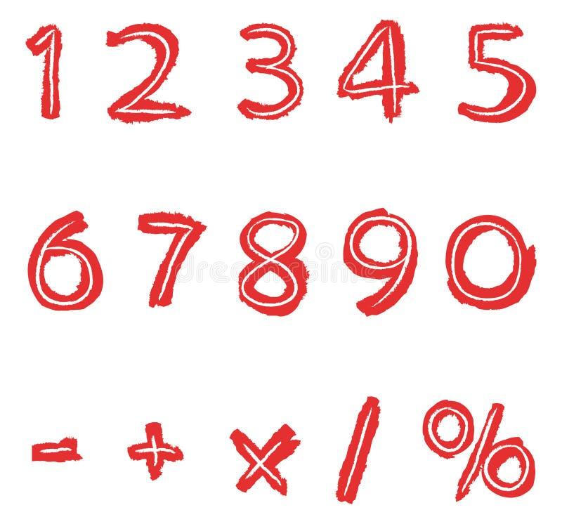 Números drenados mano stock de ilustración