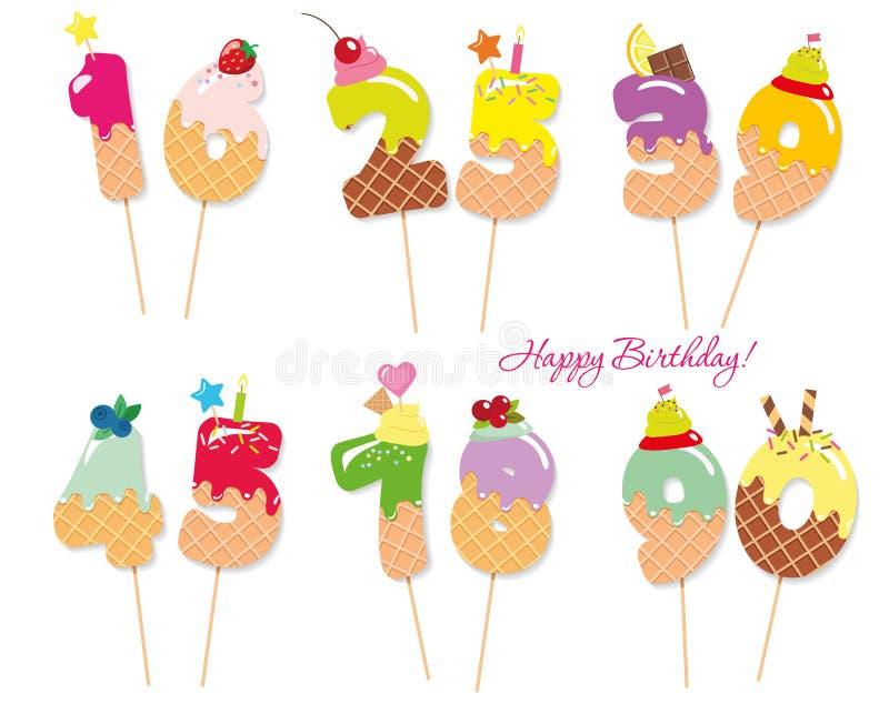 Números dulces festivos para el diseño del cumpleaños Paja de Coctail Caracteres decorativos divertidos Vector eps10 stock de ilustración