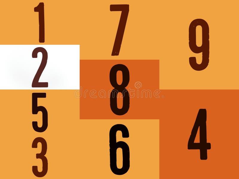 Números e dígitos diferentes no fundo amarelo ilustração stock