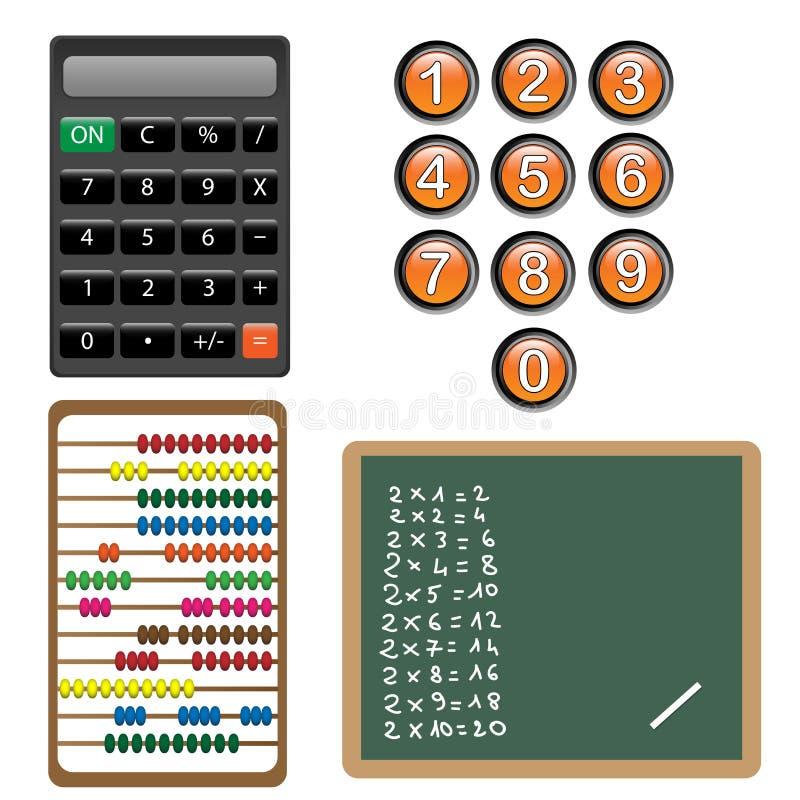 Números e elementos do projeto do cálculo ilustração do vetor