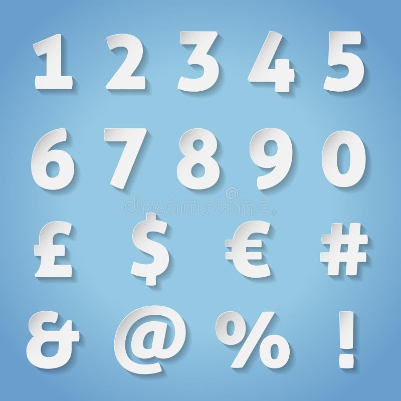 Números e letras de papel com sombra transparente  ilustração royalty free