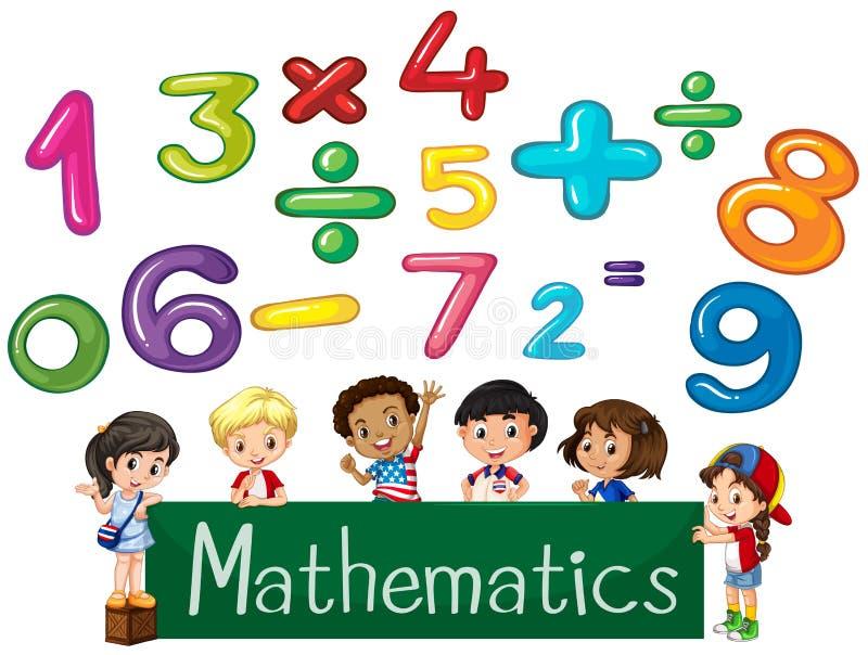 Números e matemática coloridos das crianças ilustração stock