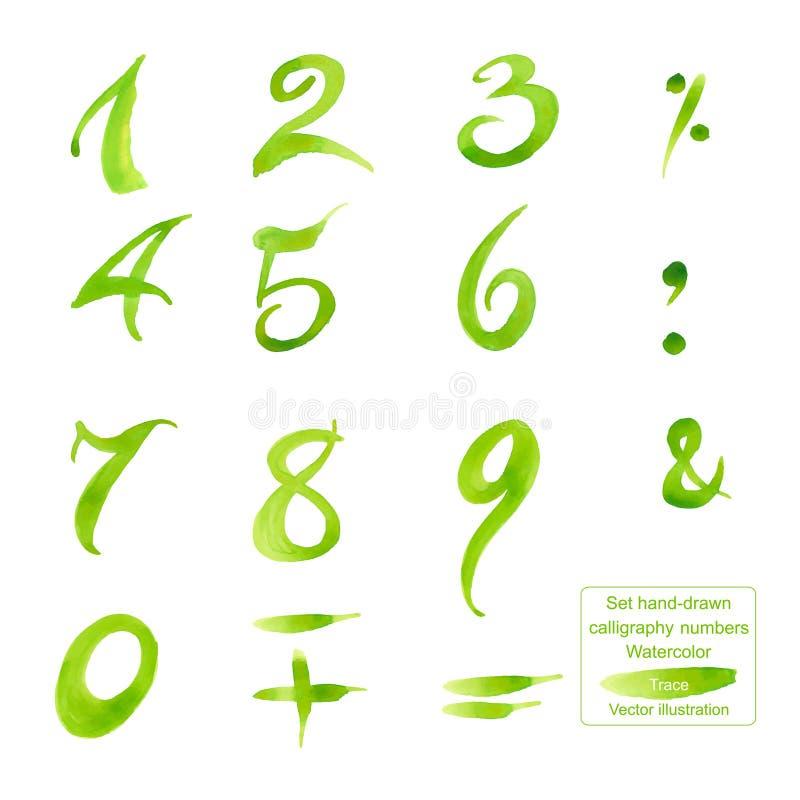 Números e símbolos desenhados à mão ajustados da caligrafia watercolor ilustração royalty free