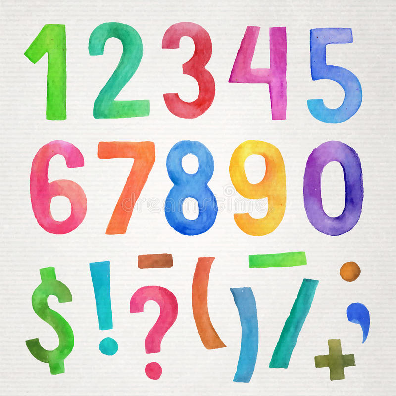 Números e símbolos escritos à mão da aquarela ilustração do vetor