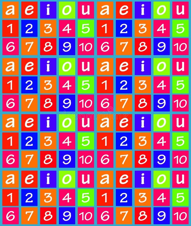 Números e teste padrão sem emenda colorido das vogais ilustração stock