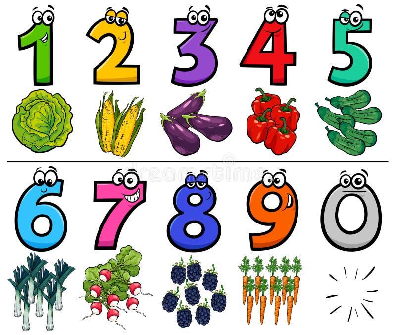 Números educativos de la historieta fijados con los objetos de la comida stock de ilustración