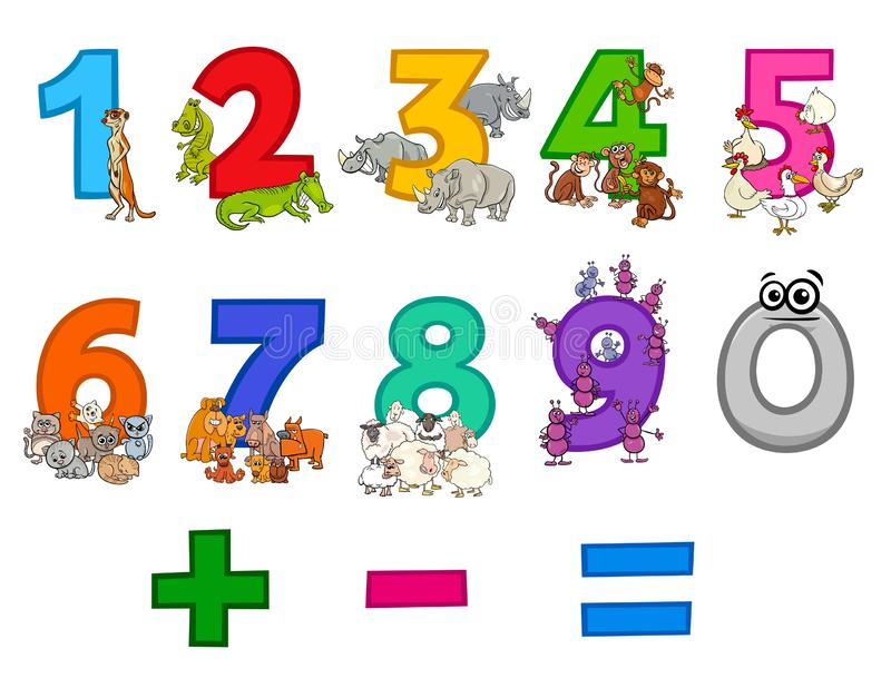 Números educativos fijados con los animales divertidos de la historieta ilustración del vector
