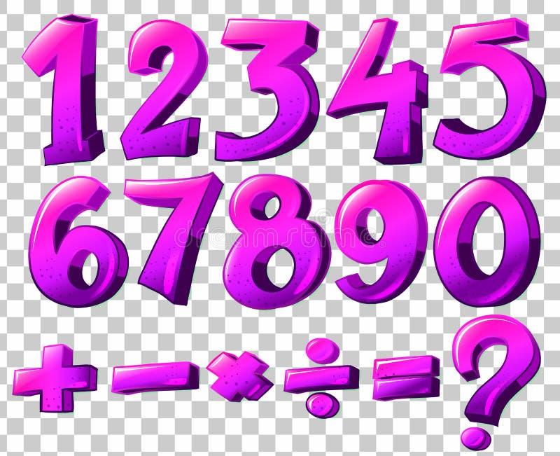 Números en color rosado stock de ilustración