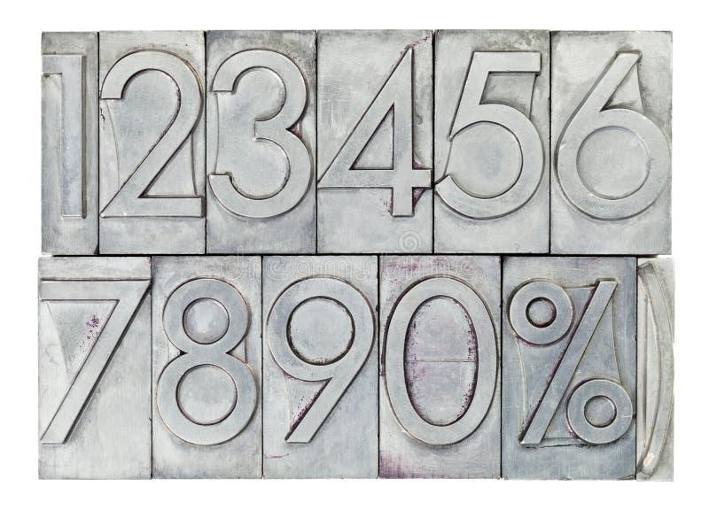 Números en tipo del metal del vintage fotos de archivo