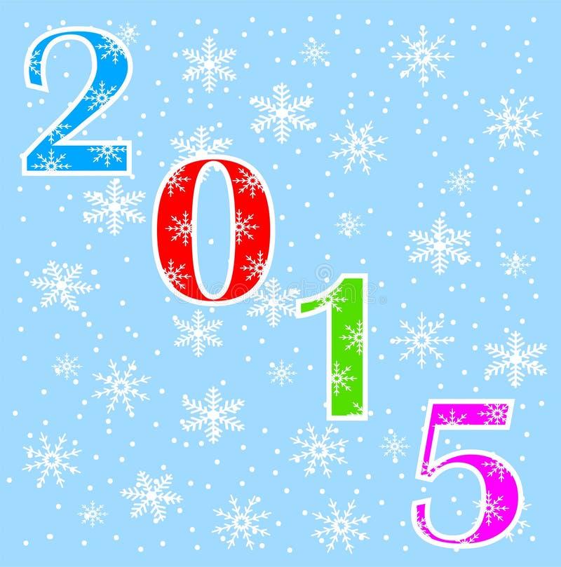 Números 2015 en un fondo azul con los copos de nieve stock de ilustración