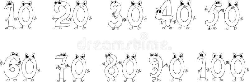 Números engraçados da página da coloração ilustração royalty free